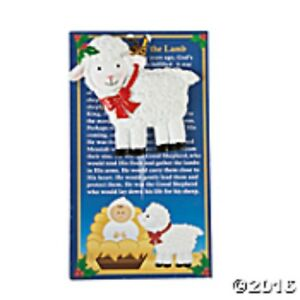 LEGEND-OF-THE-LAMB-ORNAMENT-ON-CARD-CHRISTMAS-PARTY-FAVOR-RESIN