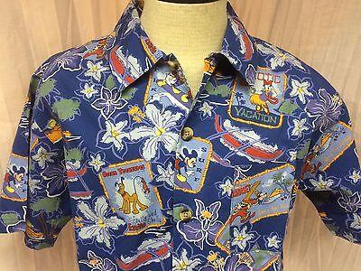 Disney Mickey Tiki Surf Vacation Blue Medium Hawaiian Shirt Short Sleeve M B