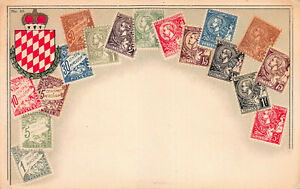 Monaco-Stamps-on-Early-Postcard-Unused-Published-by-Ottmar-Zieher