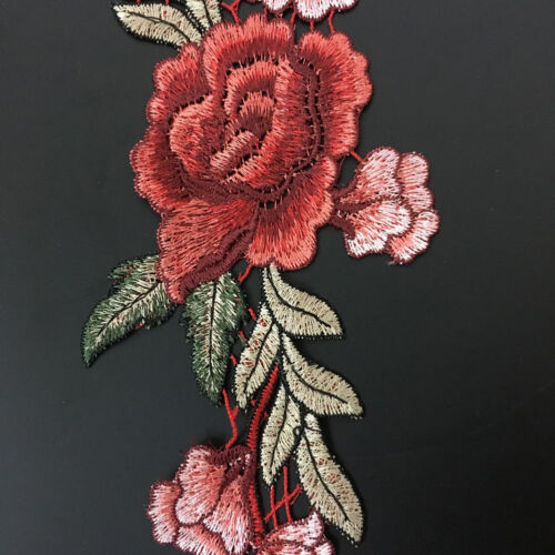 ND/_ 2 X EMBROIDERY ROSE FLOWER SEW IRON ON HOME PATCH BADGE BAG HAT APPLIQUE D