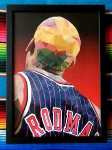 Framed-DENNIS-RODMAN-Chicago-Bulls-NBA-Poster-62cm-x-44-5cm-x-3cm