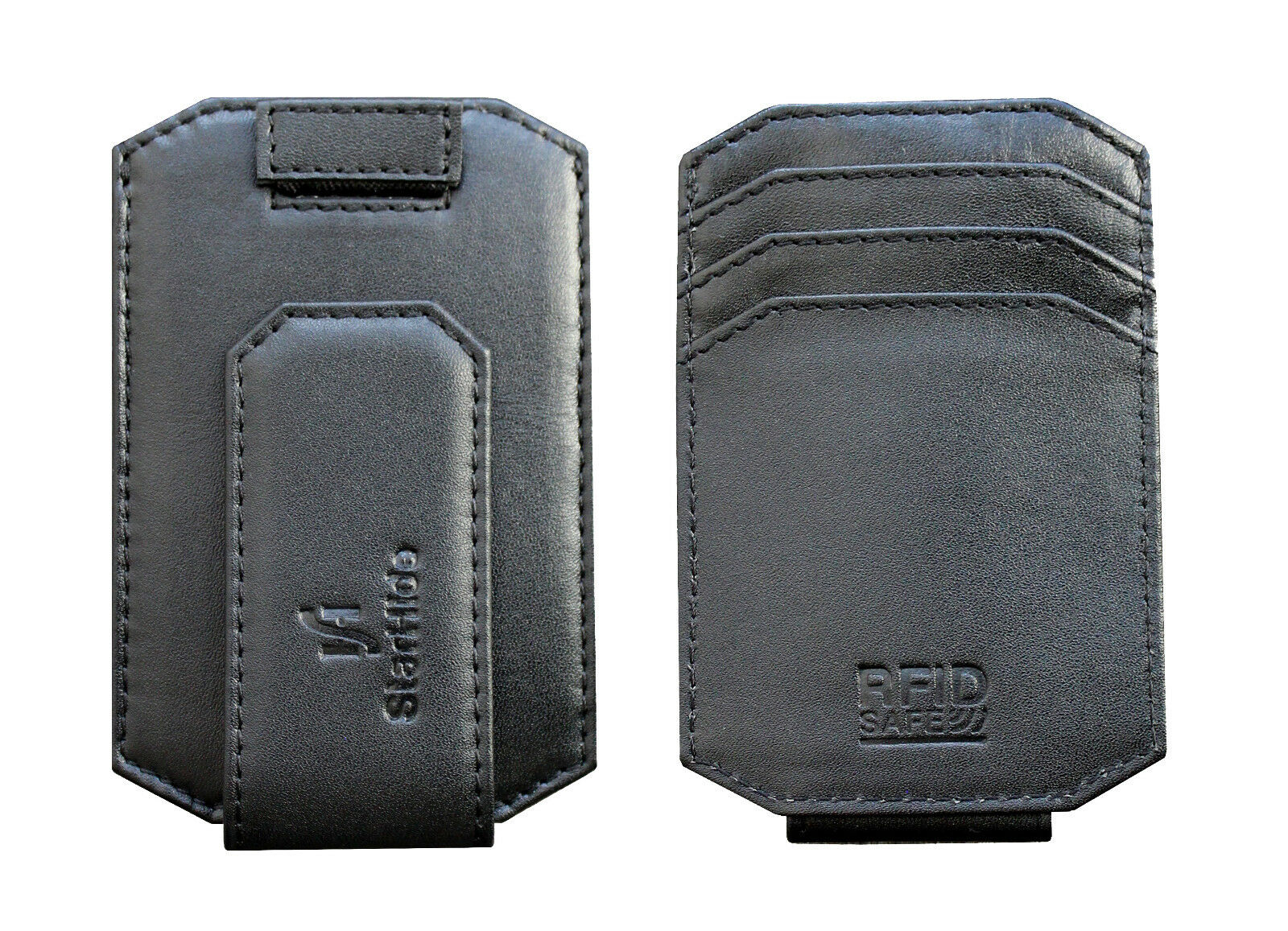 Mens RFID Thin Leather Money Clip Cardholder Black