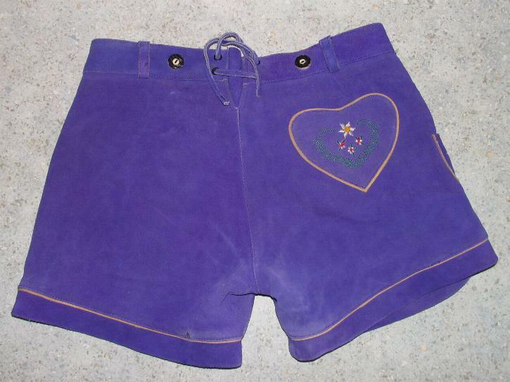 Short Ladies- Traditional Costume Leather Pants/Costume IN Purple Approx. Size