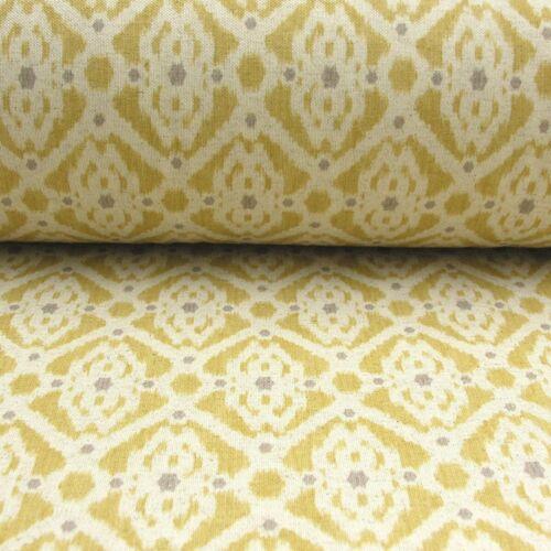 Double Width 280cm Wide Medina French Petite Ikat Linen in Mustard