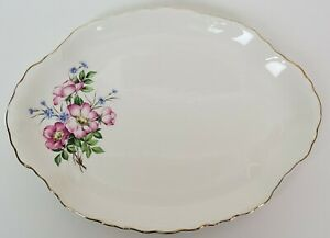 Homer-Laughlin-Serving-Platter-Pink-Rose-Blue-Flax-Flowers-Gold-Trim-11-3-4-034