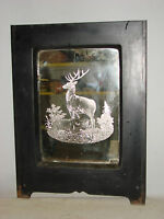 ANTIQUE CAST IRON ORNATE FIREPLACE COVER FRONT W/ MIRROR DEER BUCK & DOE