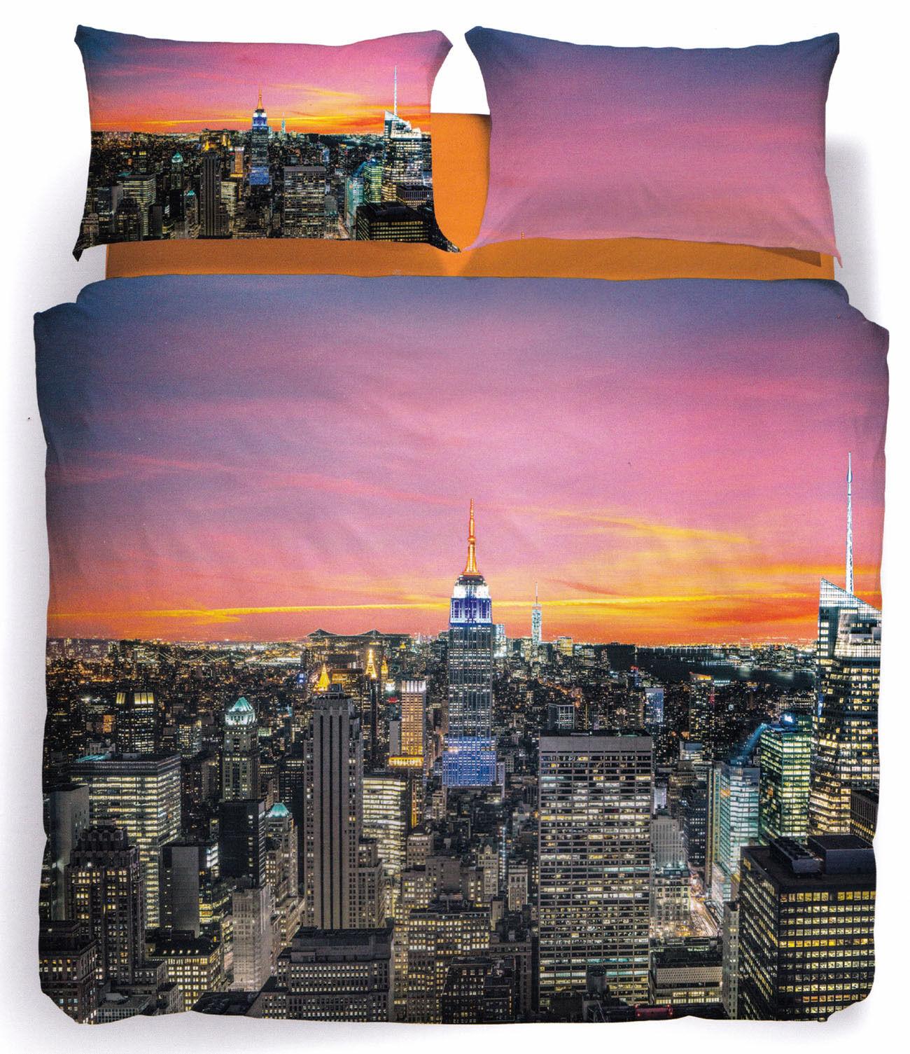 Set Copripiumino Lenzuola New York Sunset City 1 Piazza e Mezza Digitale Caleffi