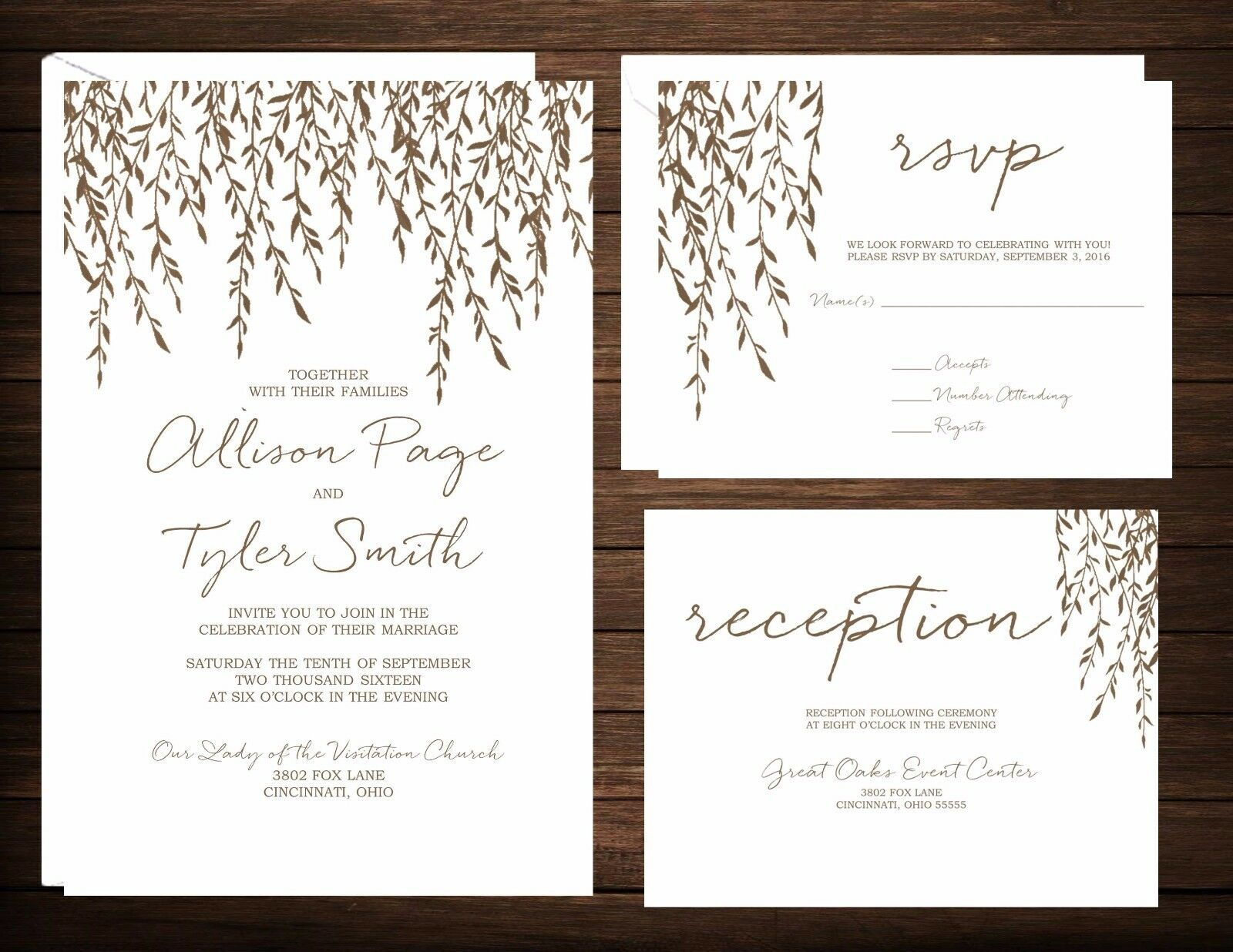 Wedding Invitations Weeping Willow 50 Invitations and RSVP Cards
