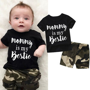 Bimbo-Neonato-Bambino-Top-T-Shirt-Mimetica-Pantaloni-Corti-Completo-Vestiti