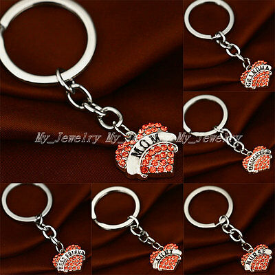 Party Crystal Heart Pendant Keyrings Keychain Key Chain Friend Family Gifts New