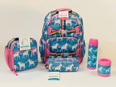 Pottery Barn Kids Unicorn Large Backpack Aqua Lunchbox