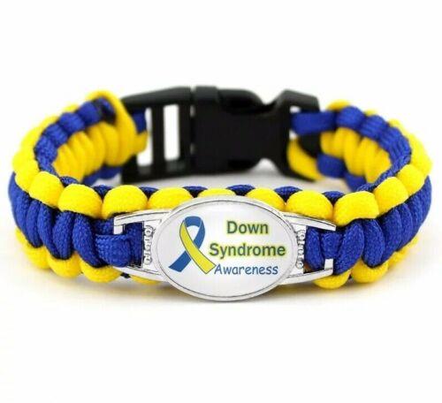 Síndrome de Down insignia de supervivencia Paracord Pulsera médica conciencia Downs Soporte