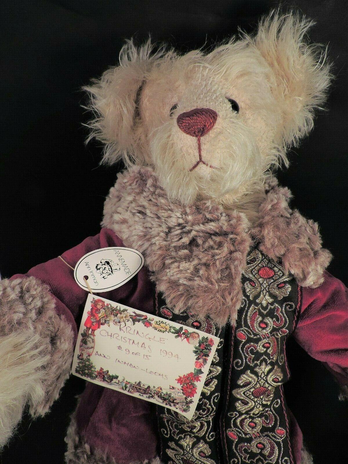 Original ANN INMAN-LOOMS LTD EDITION TEDDY BEAR (PRINGLE CHRISTMAS 1994) MWT