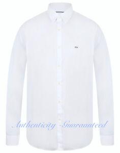 LACOSTE-Men-039-s-Long-Sleeve-Slim-Fit-Stretch-Shirt-White-Blue-S-XXL-RRP-100