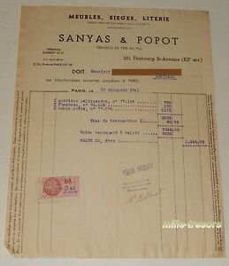 FACTURE-1941-Ebenistes-SANYAS-amp-POPOT-Gueridon-palissandre-Flambeau-Bahut