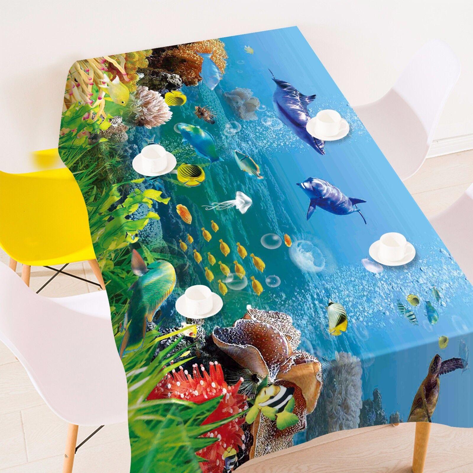 3D Ocean Poisson 9 Nappe Table Cover Cloth Fête D'Anniversaire événement AJ papier peint UK