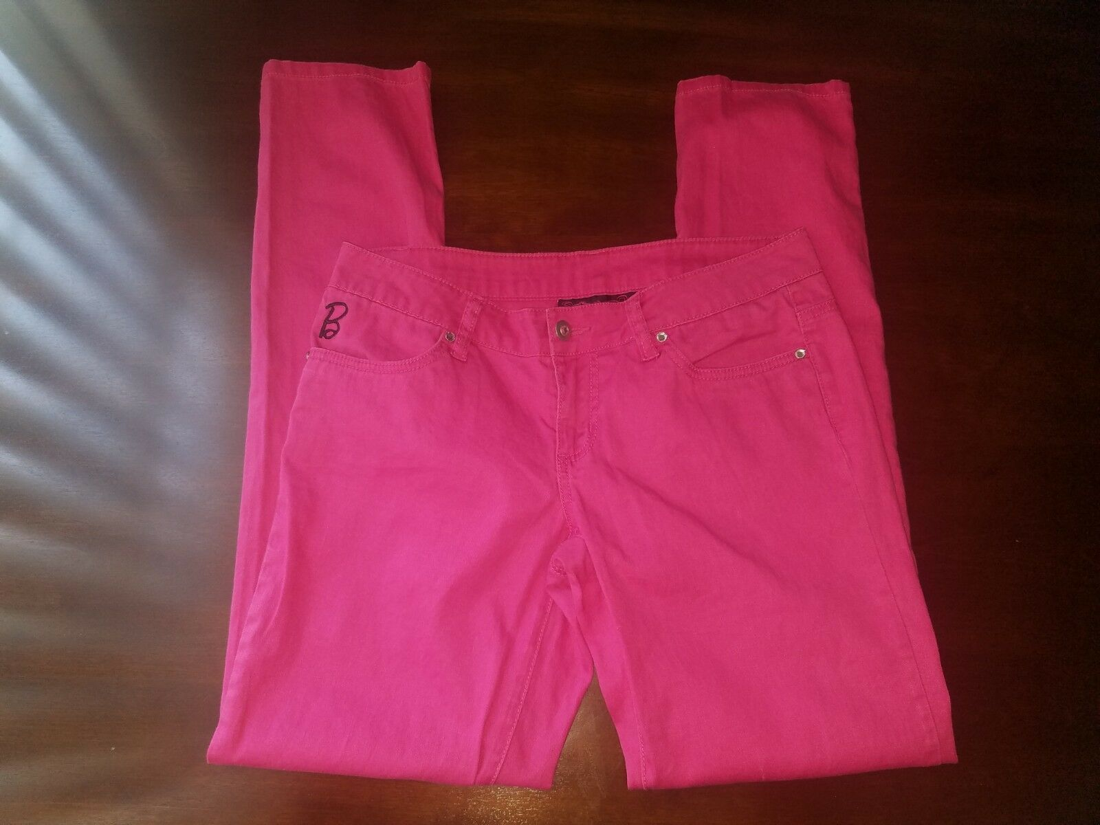 Doe Sz 9 Presents Barbie Pink Rhinestone Bling Womens Skinny Jeans