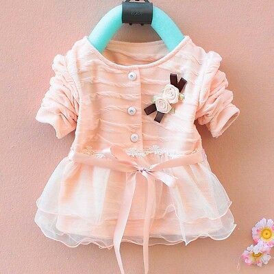 1pc Girl Kids Newborn Baby Pretty Top Dress Baby Clothing Outfit 0-36M Cardigan