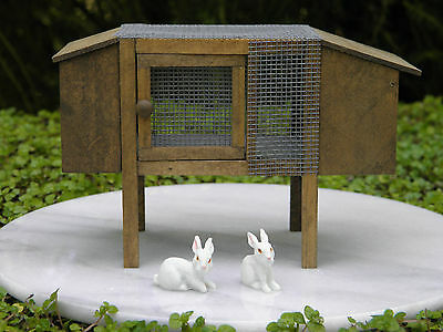 Miniature Dollhouse FAIRY GARDEN Accessories ~ Rabbit Hutch ~ NEW