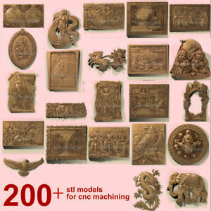 206 pcs set 3d stl models for CNC Router Artcam Aspire