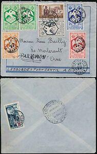 FRENCH AFRICA GABON 1942 AIRMAIL MULTI FRANKING PHOENIX BIRD...8 stamps