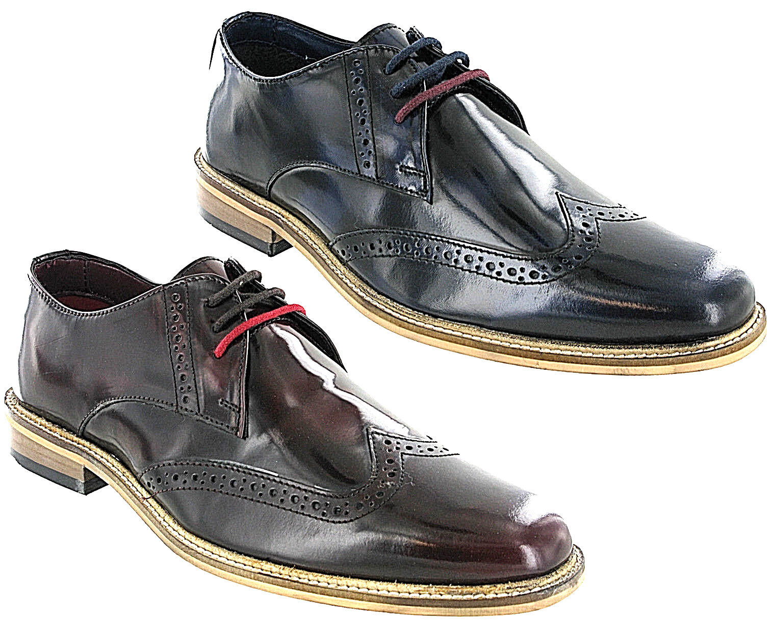 Lambretta Brogue Schuhes High Shine Formal Smart Franky Brush UK Off Men Lace UK Brush 7-12 21d05e
