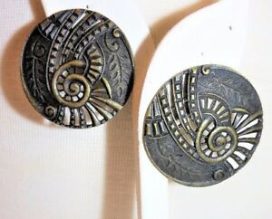 Abstract-Large-Round-Brass-Color-Pierced-Vintage-Earrings
