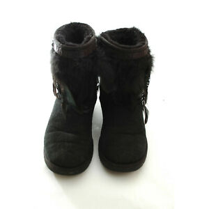 5091537a7be Details about UGG Classic Short Boots Feathers US Size 6 Women Black  Sheepskin Slip on Booties