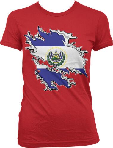 El Salvador Juniors T-shirt Shredded Rip Through El Salvadoran Flag