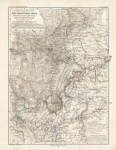 1883 Petermann map: Southwest China: Yun-nan & Sichuan