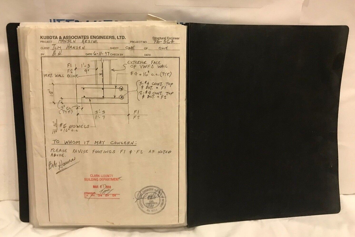 KUBOTA & ASSOCIATES ENGINEERS, BUILDING PLANS. IN HOMEMADE NOTEBOOK USED