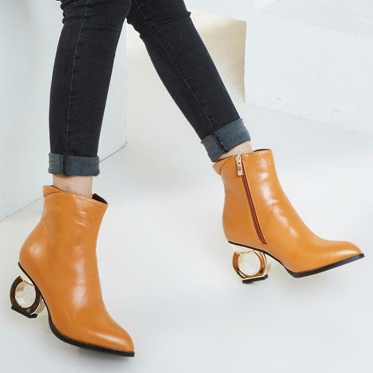 Fashion Womens Casual pointy Toe ankle Boots Hollow metal heels shoes 2019