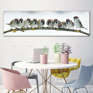 Details About Cute Sparrow Birds Canvas Painting Poster Wall Art Picture Home Decor