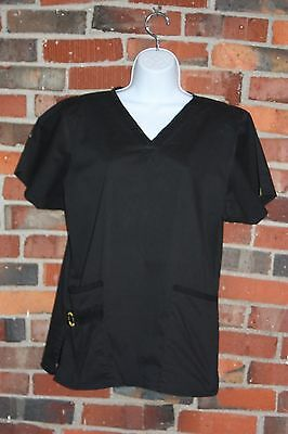 Wonder Wink Flex Scrub Top L Large Solid Black Pockets Womens Nurse