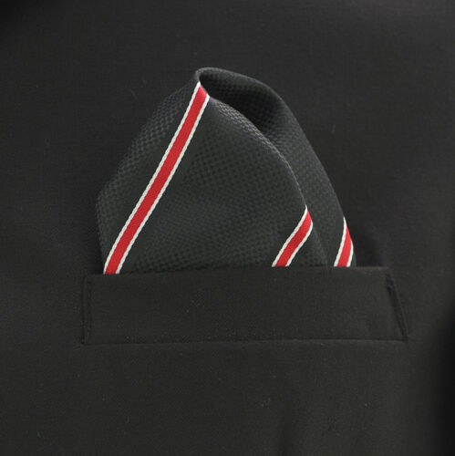 "Pocket Square Mens Hanky Black /& Red Pintriped 10/"" Dress Suit Handkerchief New"