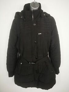 WOMENS-MANGO-CASUAL-BLACK-ZIP-UP-PADDED-LONG-BELTED-HOODED-PARKA-COAT-MEDIUM-M