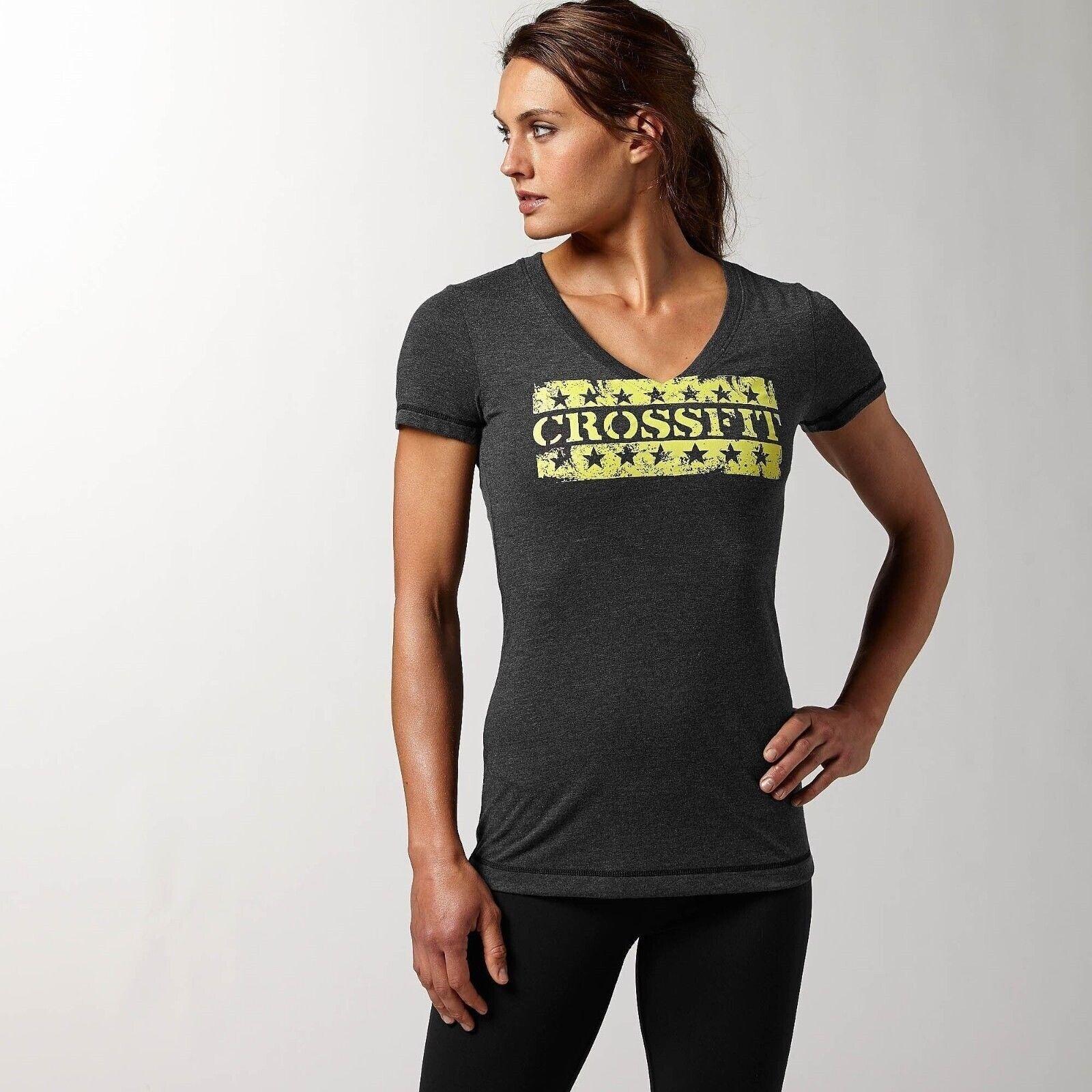 [Z92604] New Women's REEBOK Crossfit Graphic V-neck Tee - MSRP