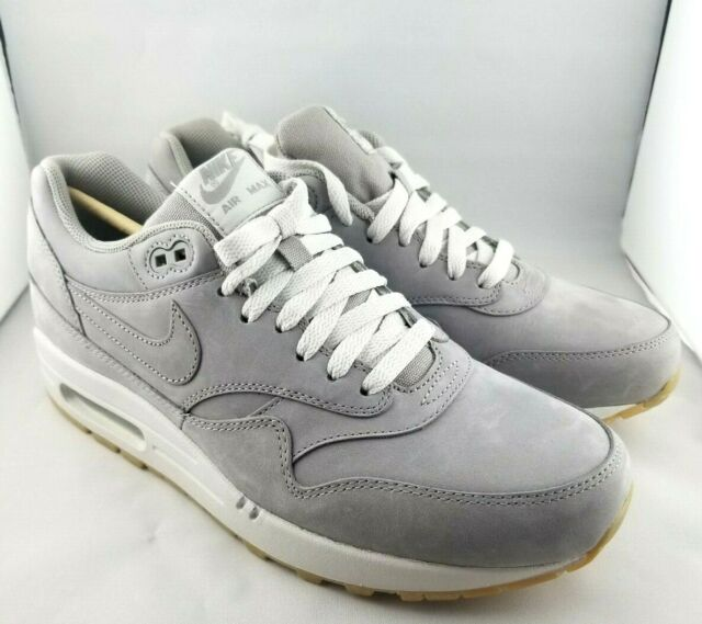Nike Air Max 1 LTR Premium 705282 005 Medium Grey Gum Sole Men's Size 9