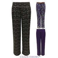 Ladies Wide Leg Palazzo Trousers Womens FLoral Print Baggy Belted Flared Pants