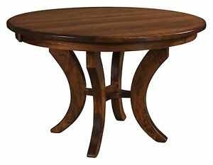 Amish Round Pedestal Dining Table Transitional Solid Wood 42 48