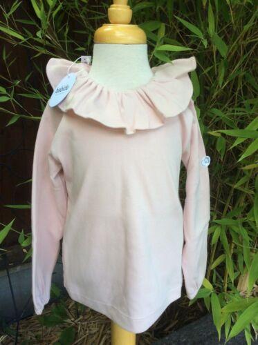 Frill Collar Long Sleeve Tops by Spanish Brand Babidu-2-6 Years White//Blush Pink