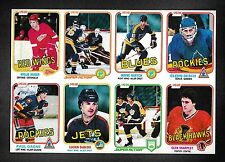 1981-82 O-Pee-Chee Uncut Panel of 8 Cards with Glenn Resch Etc.