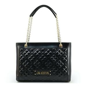 LOVE MOSCHINO Women/'s Black Leather Shoulder Bag With Dust-bag New Authentic