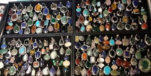 200-GRAMS-WHOLESALE-LOT-RESELL-STERLING-SILVER-925-GEMSTONE-PENDANTS-NO-SCRAP