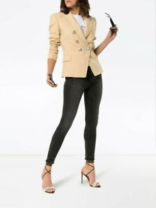 2295-Balmain-AUTH-Silver-Double-Breasted-Embellished-Blazer-42-RF17204-W022-Tan
