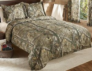 Camo Comforter Bedding Set FULL Mossy Oak Wood Tan Shams Bed in a Bag Bedroom
