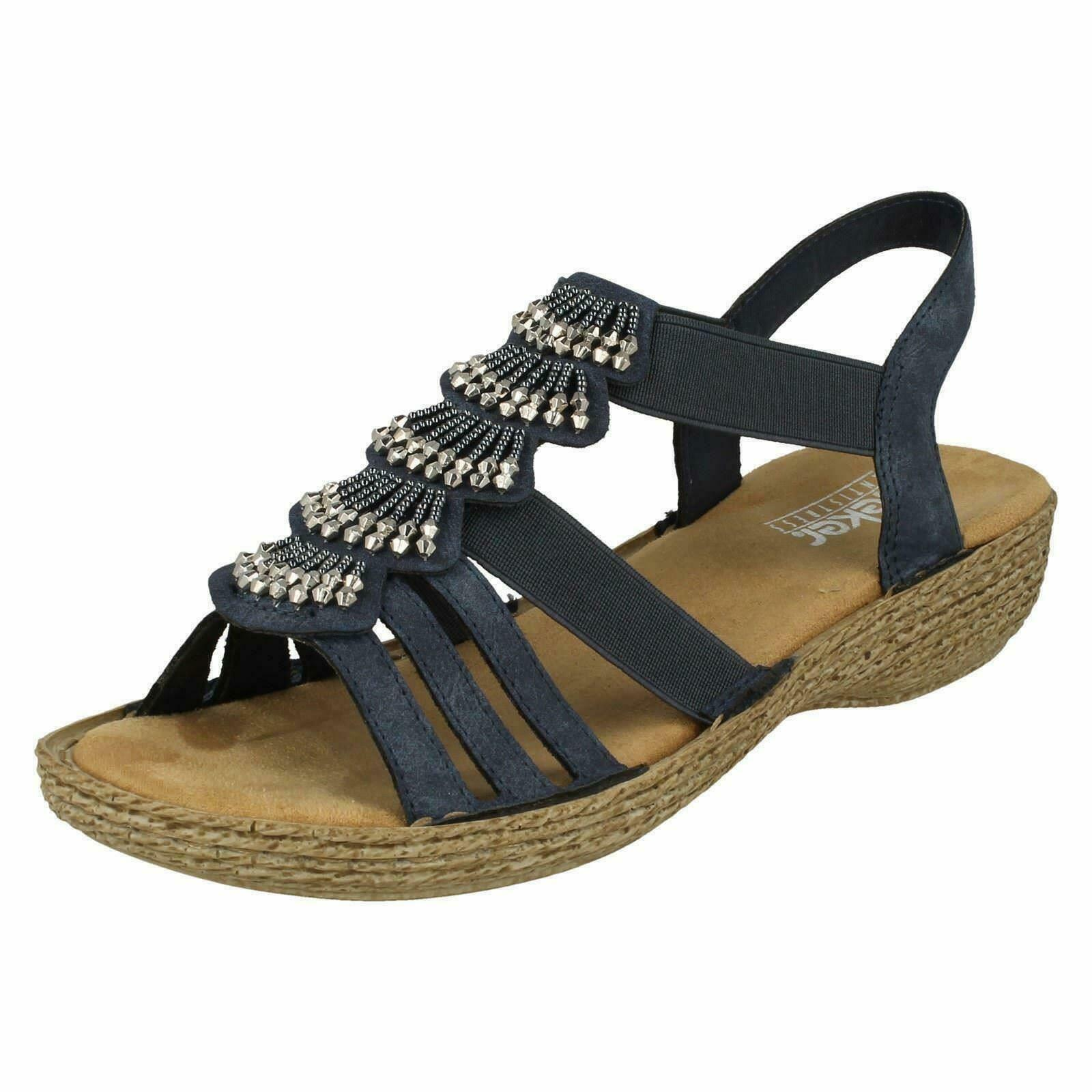 Rieker 65869 Navy Navy Navy Elastic Slingback Sandal With Microfibre Insole & Silver Studs 778c62