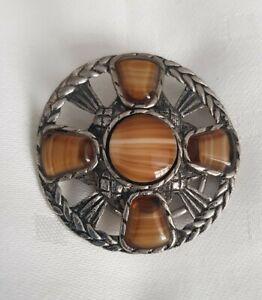 Vintage-Scottish-silver-925-Polished-banded-caramel-Agate-Celtic-Scarf-Ring-Clip