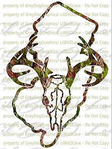 Camouflage Camo North Carolina Buck Skull Deer Hunting Vinyl Decal Hunt Sticker