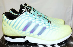 new york 727c7 2c741 Details about ADIDAS ZX Flux Xeno Yellow Mint Green Black Men's 10 Running  Shoes Glow in Dark
